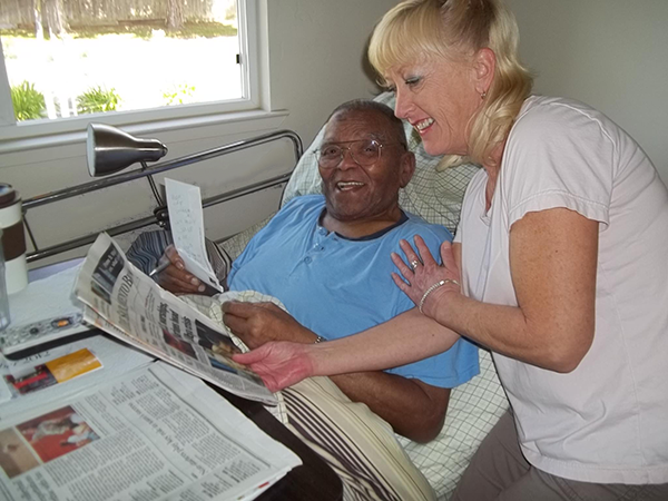 Reading news with senior