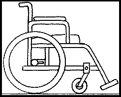 Wheelchair black and white drawing