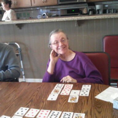 Playing cards at Roseberry Care home